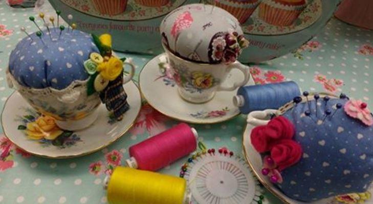 Pin Cushions in tea cups
