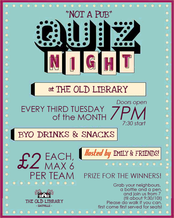 Old Library Pub Quiz Night Poster